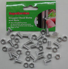 Greenhouse Aluminium Nuts & Bolts Cropped Bolt Head Pack 20 by Supagarden SGS335