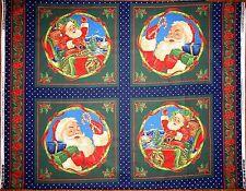 VIP Cranston ~ 4 Blocks  Pillow Christmas SANTA CLAUS LAURIE COOK fabric panel`