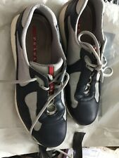 PRADA MEN'S SHOES LEATHER TRAINERS SNEAKERS Blue Grey Size 9 1/2