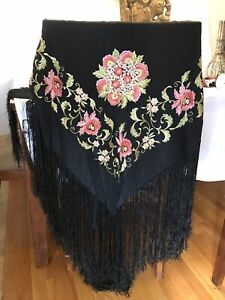 Antique Large Black Silk Embroidered Floral Canton Piano Shawl Scarf 47 X 47