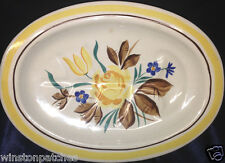"RED WING POTTERY CHINA PICARDY MEAT PLATTER 12 1/2"" BLUE & YELLOW FLOWERS"