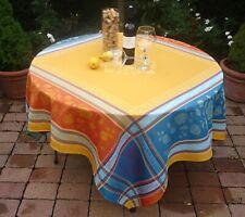 Tablecloth Jacquard Cotton 160x160 CM Curry Blue France With Teflonschutz