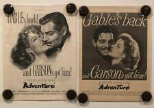 ADVENTURE Vintage Original Magazine Advertisements (2) - 1945 - CLARK GABLE