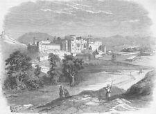 PAKISTAN. Punjab. Palace of Bisuli Rajah & Himalayas, antique print, 1846