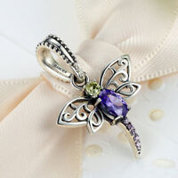 Voroco Real 925 Sterling Silver Charm Bead Purple Dragonfly Pendant For Bracelet