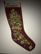 Lauren Christmas Tree Needlepoint 21� Stocking Finished Completed