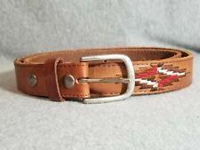 Bed Stu Tucker Unisex Tan Leather Embroidered Belt 34-38 medium
