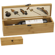 BAMBOO FINISH HIGH QUALITY SINGLE WINE PRESENTATION BOX WITH TOOLS GS011