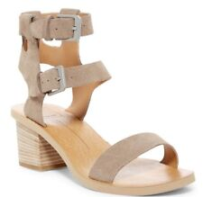 Dolce Vita Women's West Dual Ankle Strap Sandal Heels Taupe Suede Size 9