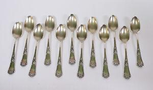 Fine set of 12 pieces Antique Belgian Solid Silver Spoons c1900 Style Louis XIV