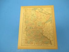 1893 Popular Atlas Map 1 page, Minnesota, Suitable to Frame, Color