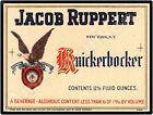 1920 Jacop Ruppert's Knickerbocker Beverage New Metal Sign: New York City