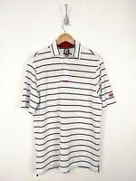 FJ FootJoy Polo Shirt Men Large Athletic Fit White Red Black Striped Golf Niguel