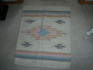 """Southwest Style Wool Rug or Wall Hanging 28"""" x 34"""" Pastels-- aqua, pink, gray"""