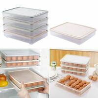 24Eggs Clear Egg Storage Carton Box Tray Fridge Stackable Container Basket c