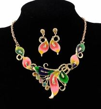 TWO TONE MULTI-COLOUR BOW LEAF CHUNKY ENAMEL FLOWER NECKLACE EARRINGS SET