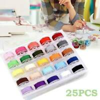 25pcs Sewing Thread Set with Plastic Bobbins Sewing Machine Spools Case Kit