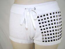 Bird Vine White Studded Stretch Drawstring Knit Shorts Womens Size Small 4 6