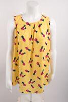 Torrid Womens Pineapple Georgette Tank Top Shirt Sz 0 Large 12 Yellow Pleated