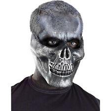 Silver Metallic Skull Jaw Adult Halloween Costume Half Mask