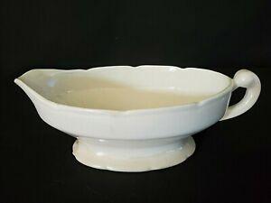 Vintage  Handled  Ceramic  Plain  Cream-Colored  Sauce  Gravy Boat  USA Made