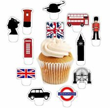 London city theme 24 edible stand up cup cake toppers wafer paper pre-cut