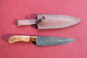 Large Damascus butcher knife knife two tone wood/ceramic handle & leather sheath