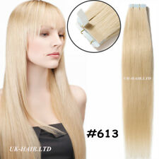 "4A 20-40Pcs 16""-24"" Tape In Skin Weft Remy Virgin Human Hair Extentions US I400"