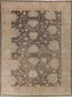 Antique Vegetable Dye Oushak Rug All Over Floral Handmade Wool USHAK Carpet 9x12