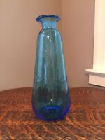 Vintage Blue Blown Art Glass Vase Mid Century Rain/bubble