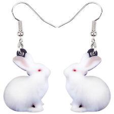 Acrylic Sweet White Rabbit Earrings Dangle Drop Animal Jewelry For Women Girls