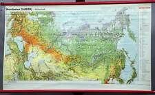 vintage pull-down poster print school map wall chart North Asia Russa China