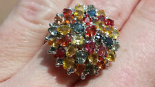 11.2Ct Sapphire Ring Sz 7.5 / Multi-Color Rainbow Sapphire/ ARTIST SIG /40.35tcw
