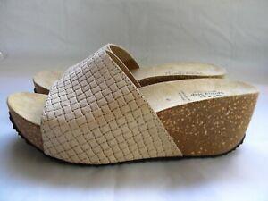 SPRING STEP Italy Beige Leather Cork Wedge Platform Sandal Slide Size 41 EU 9.5