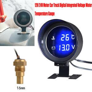 12V/24V Car Digital Integrated Voltage Water Temperature Gauge w/16MM Sensor
