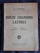 M Lavarenne 12 chansons latines 1952 Paroles Musique Traduction Commentaire