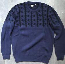Ben Sherman Dark Navy Hounds Tooth Crew Neck Knit Sweater, Size L