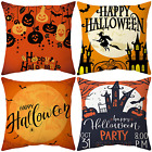 4PCS Halloween Pillow Covers 18x18 Fall Pumpkin Throw Pillow Cases, Square Happy