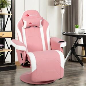 Pink Massage Gaming Recliner Reclining Racing Chair Swivel w/Cup Holder & Pillow