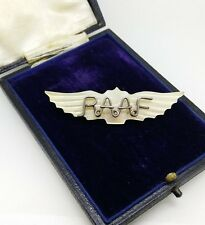 RAAF Sweetheart Brooch. Vintage Carved Mother of Pearl Air Force flying wings