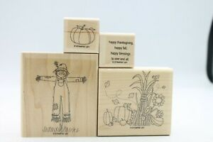 Stampin' Up Fall Set of 4 Wooden Stampers Thanksgiving Autumn Scarecrow Pumpkin