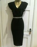 £35! Ex QUIZ Black Diamante Frill Shoulder Party Evening Dress Size 8 - 18