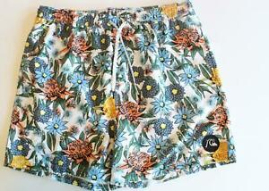 Quiksilver Mens Volley Swim Trunk Shorts Floral White Gray Blue XLarge NEW