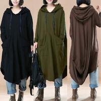 ZANZEA Women Long Sleeve Midi Dress Caftan Abaya Kaftan Plus Size Hoodie Dress