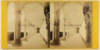 Italia Chiostro Saint-Ferdinand Napoli Foto Stereo c1870 Albumina Vintage