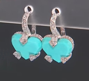 JUDITH RIPKA Sterling Silver Diamonique and Turquoise Heart Dangle Earrings NWT