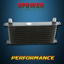Universal 10 Row AN10 Engine Transmission Aluminum Oil Cooler Trust Style Black