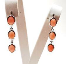 orecchini di corallo rosa caboshon pendenti earrings coral in argento 925 donna