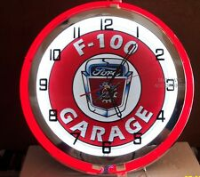 """18"""" FORD F-100 Garage Sign Double Neon Clock"""
