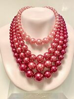 "VINTAGE~JAPAN ~FAUX PEARL~PINK/MAUVE~MULTI 4 STRAND BEADED NECKLACE~16""+3""EXT"